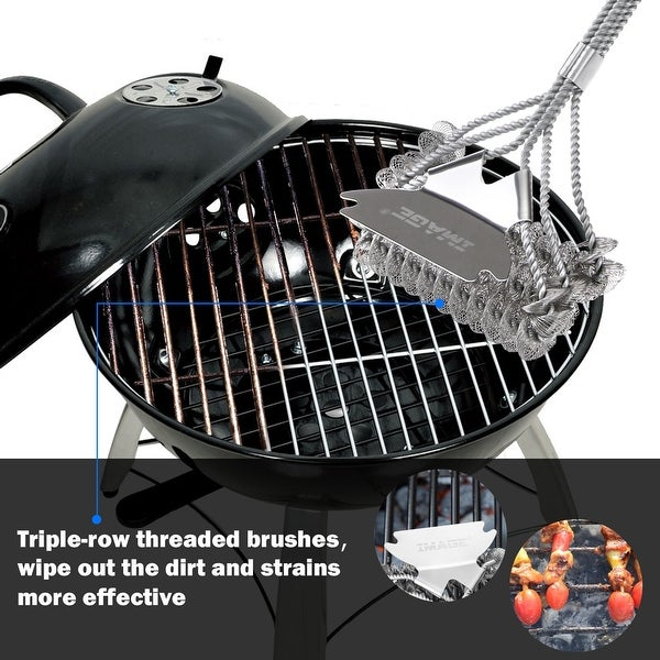 """BBQ CHOICE 15/"""" 3-in-1 Stainless Steel Barbecue Grill Scraper Cleaning Tool"""