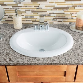 """Miseno MNO2018ODI Oval 20-1/2"""" Drop-In Bathroom Sink with 3 Pre-Drilled Faucet Holes (4"""" Centers) - White"""