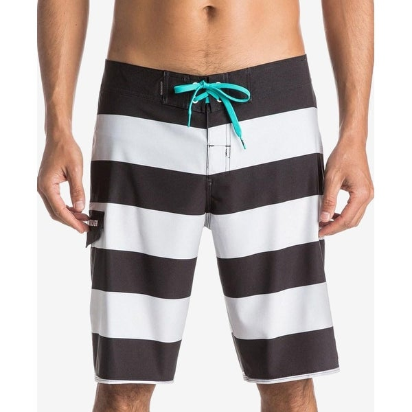 b7ae6d13c3995 Shop Quiksilver NEW Black White Mens Size 36 Striped Drawstring Board Shorts  - Free Shipping On Orders Over $45 - Overstock - 18332442