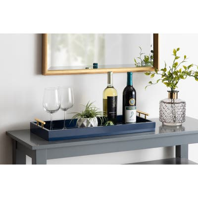 Kate and Laurel Lipton Narrow Rectangle Wood Accent Tray - 10x24