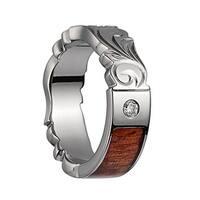 Titanium Polished Wedding Ring With Carved Leaf Edges, Pink IvoryInlay, & 1 Diamond Setting - 6mm