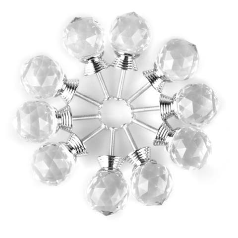 """1.18"""" Crystal Glass Drawer Knobs Cabinet Pull Handle Round Clear 10pcs"""