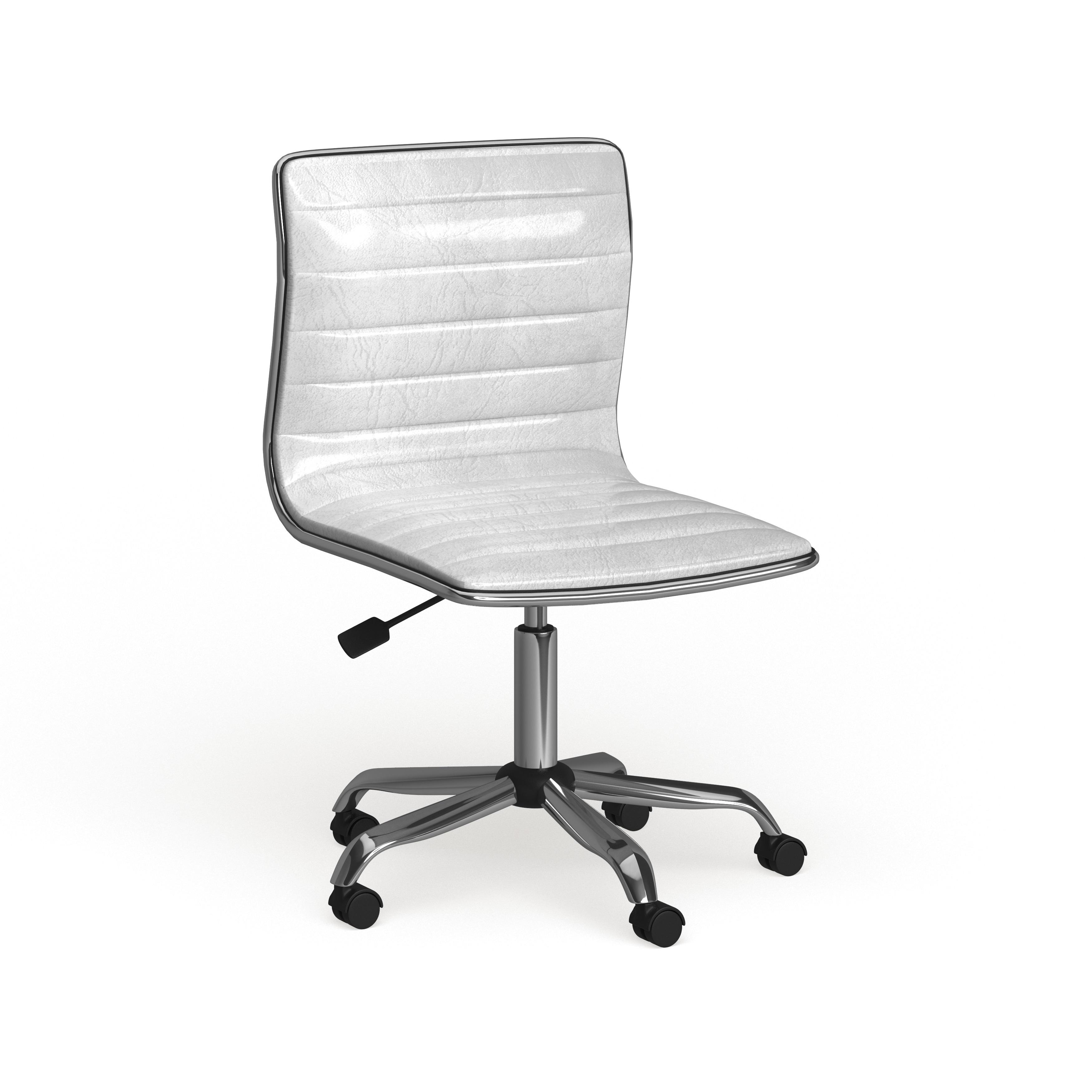 Carson Carrington Olafsvik Swivel Mid Back Armless Ribbed Task Leather White Upholstery Office Chair Overstock 19424581