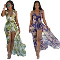 Women Fashion Flower Print Halter Neck Maxi Romper