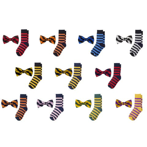 Jacob Alexander Matching College Stripe Dress Socks and Bow Tie - One Size
