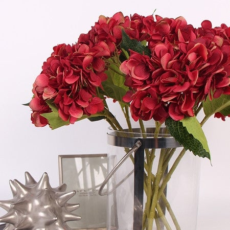 "G Home Collection Luxury Silk Hydrangea Stem in Red 18"" Tall"