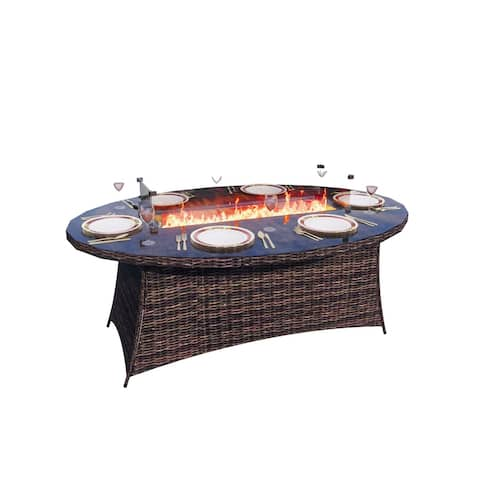 Ellington Outdoor Propane 6-Seat Oval Gas Fire Pit Table- (TABLE ONLY)