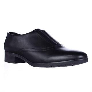 Easy Spirit Neota Slip On Laceless Oxfords - Black/Black