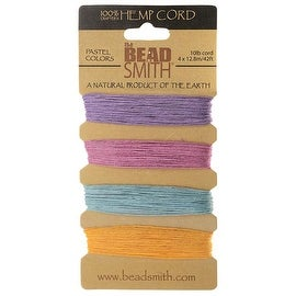 Beadsmith Natural Hemp Twine Bead Cord 0.55mm Four Pastel Color Variety 42 Feet Each