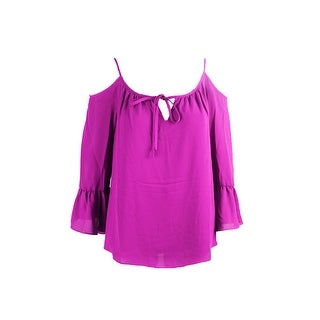 Inc International Concepts Magenta Bell-Sleeve Cold-Shoulder Top 8
