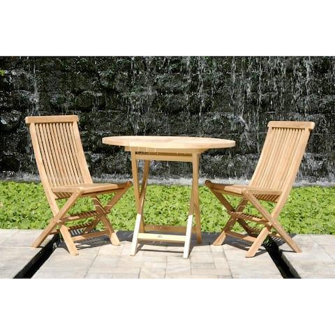 Chic Teak California Teak Wood Folding Outdoor Patio Side Chair (set of 2)