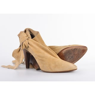 Roberto Cavalli Light Brown Suede Bow Ankle Strap Bootie
