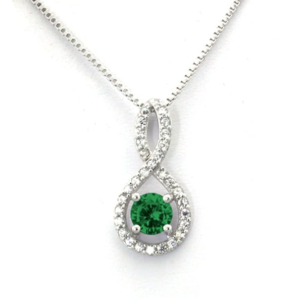 Sterling Silver Figure 8 Emerald CZ Color Center (May Birth) Stone Pendant - 18 inches