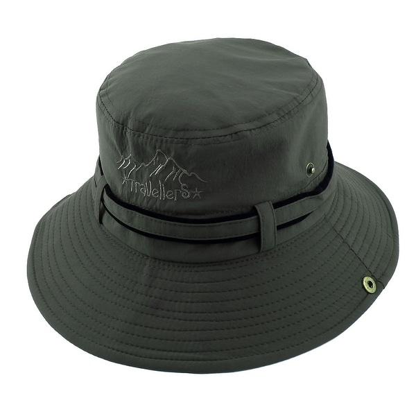 24af48a283f Fisherman Cotton Blends Climbing Brim Bucket Summer Cap Fishing Hat Army  Green