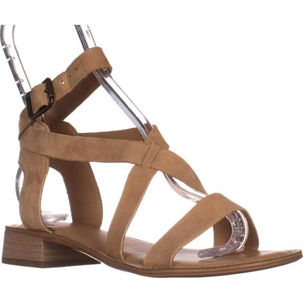 Franco Sarto Alora Flat Cross Strap Sandals, Dark Camel - 6.5 us / 36.5 eu