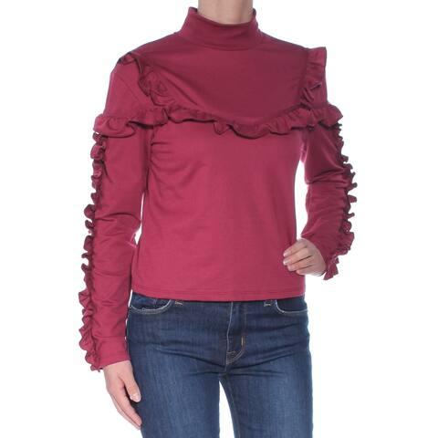 BUFFALO Womens Maroon Ruffled Long Sleeve Turtle Neck Top Size: XS
