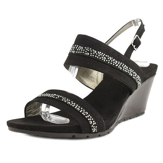Bandolino Greedson Women  Open Toe Leather Black Wedge Sandal
