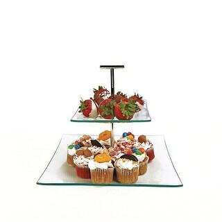 Palais Glassware Elegent Glass Cupcake or Cake Stand - Party Centerpiece 10 2 Tier Square.