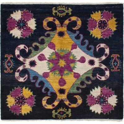 ECARPETGALLERY Hand-knotted Shalimar Black, Purple Wool Rug - 4'10 x 5'2