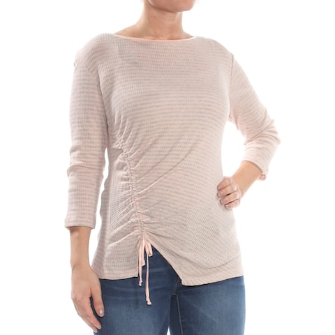 WILLIAM RAST Womens Pink Ruched Striped 3/4 Sleeve Top Size: M