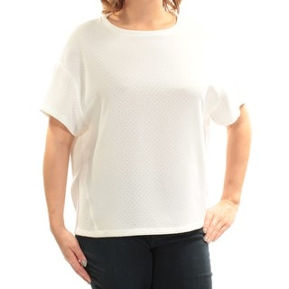 ANNE KLEIN $79 Womens New 1729 Ivory Jewel Neck Short Sleeve Casual Top 14 B+B