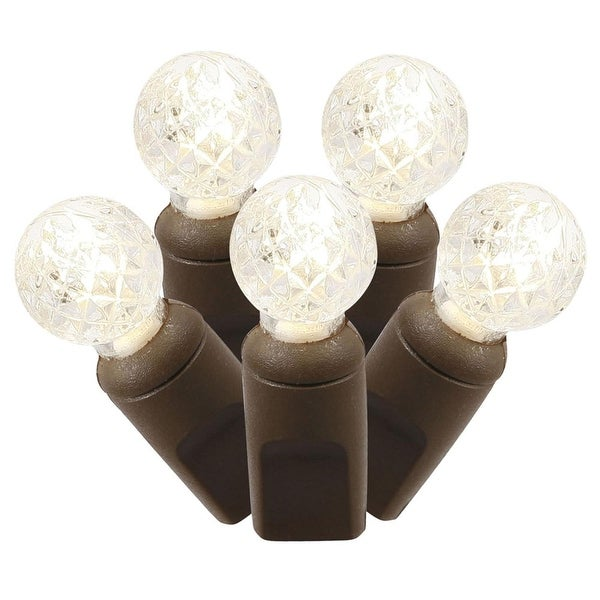 "Set of 100 Warm White Commercial Grade LED G12 Berry Christmas Lights 4"" Spacing - Brown Wire"