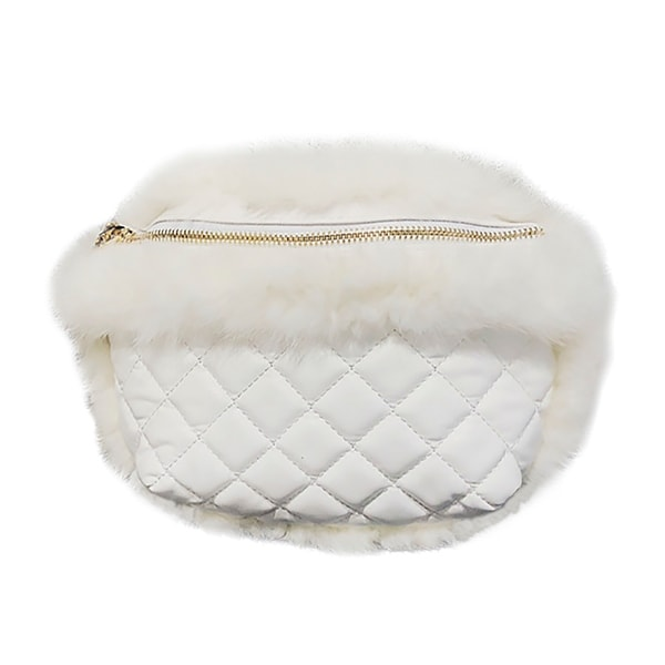 QZUnique Women  x27 s Faux Fur Rhombus Pattern Waist Bag Handbag Zipper Crossbody  Shoulder b123d4126e7f7