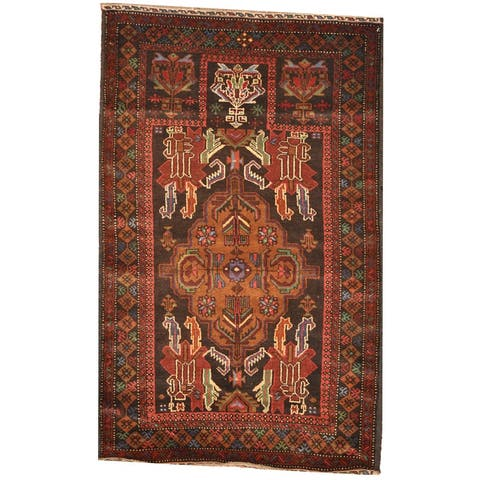 Handmade One-Of-A-Kind Tribal Balouchi Wool Rug (Afghanistan) - 2'9 x 4'7