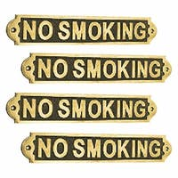 4 Solid Brass Plaques Sign NO SMOKING Polished Brass Plate