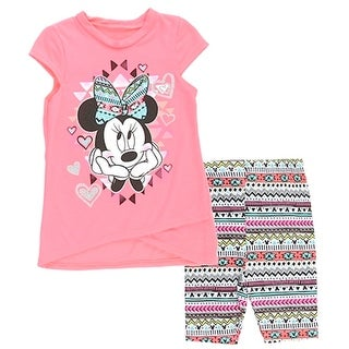 Disney Little Girls Pink Minnie Mouse Heart Motif Print 2 Pc Pant Set