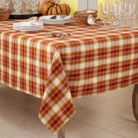 Square Tablecloth With Large Plaid Design