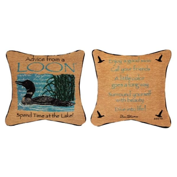 """12.5"""" """"Advice from a Loon"""" Square Throw Pillow"""