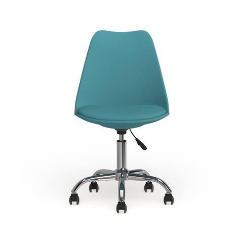 Carson Carrington Bollnas Mid-century Modern Teal Leather Office Task Chair