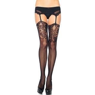 Fishnet Thigh Highs With Lace Pattern, Fishnet And Lace Stockings