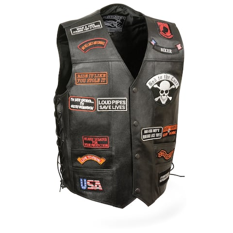 Mens Leather Biker Vest W/ 23 Patches