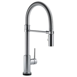 Delta 9659T-DST Trinsic Pro Pre-Rinse Pull-Down Kitchen Faucet with On/Off Touch Activation, Magnetic Docking Spray Head -