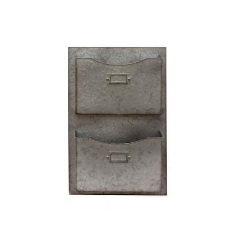 """22.5"""" Distressed Gray Metal Galvanized Finished Double File Drawer"""