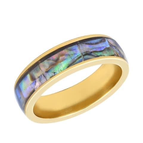Handmade Modern Unisex Iridescent Abalone Shell Inlay Brass Band Ring (Thailand)