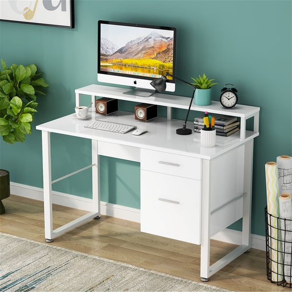 47 Inches Computer Desk with Hutch & 2 Drawers Storage. Opens flyout.