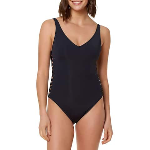 Bleu Rod Beattie Womens Swimwear Blue Size 4 One-Piece Lattice Navy