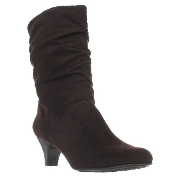 Aerosoles Wise N Shine Mid-Calf Slouch Boots, Dark Brown Combo