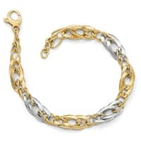 Italian 14k Two-Tone Gold Polished and Textured Fancy Link Bracelet - 8 inches