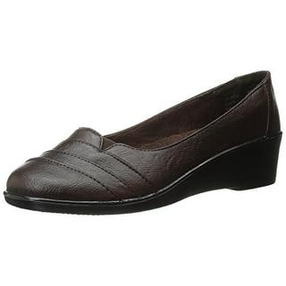 Easy Street Womens Marsh Leather Pleated Wedge Heels