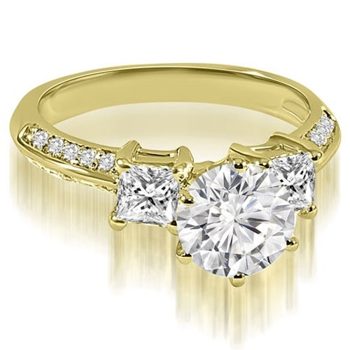 1.20 cttw. 14K Yellow Gold Round and Princess cut Diamond Engagement Ring
