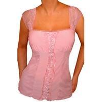 Funfash Plus Size Corset Cotton Candy Pink Lace Womens Bustier Top Shirt