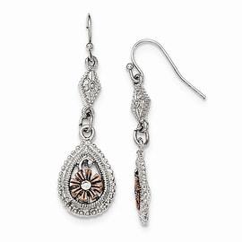 Silvertone Black Crystal & Black Epoxy Stone Shepherds Hook Earrings