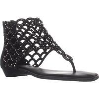 ZIGI Mela Caged Gladiator Flat Sandals, Black