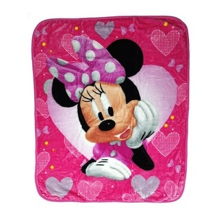 "Baby Girls Pink Minnie Mouse Hearts Bows Print Royal Plush Blanket 40"" x 50"" - One size"