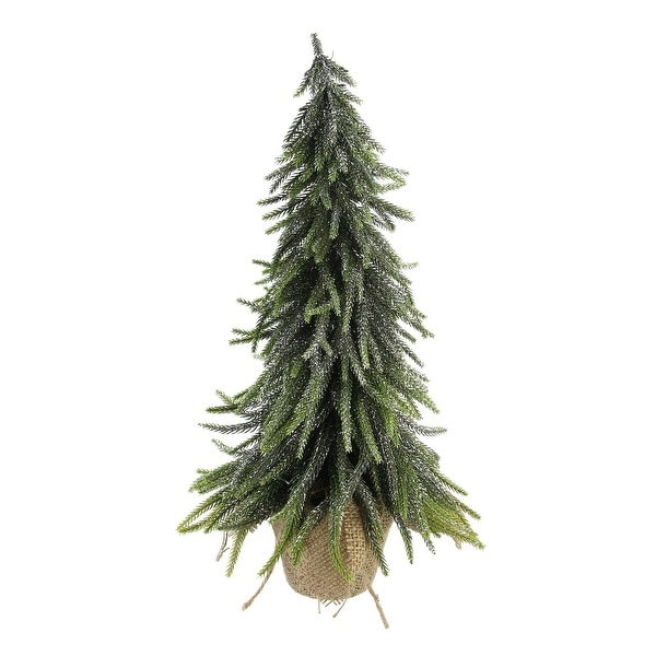 """19"""" Silver Glitter Weeping Mini Pine Christmas Tree in Burlap Covered Vase"""