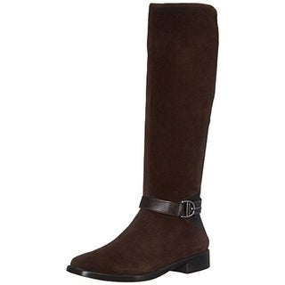 Aerosoles Womens Ring Dish Riding Boots Suede Double Zipper - 5 medium (b,m)